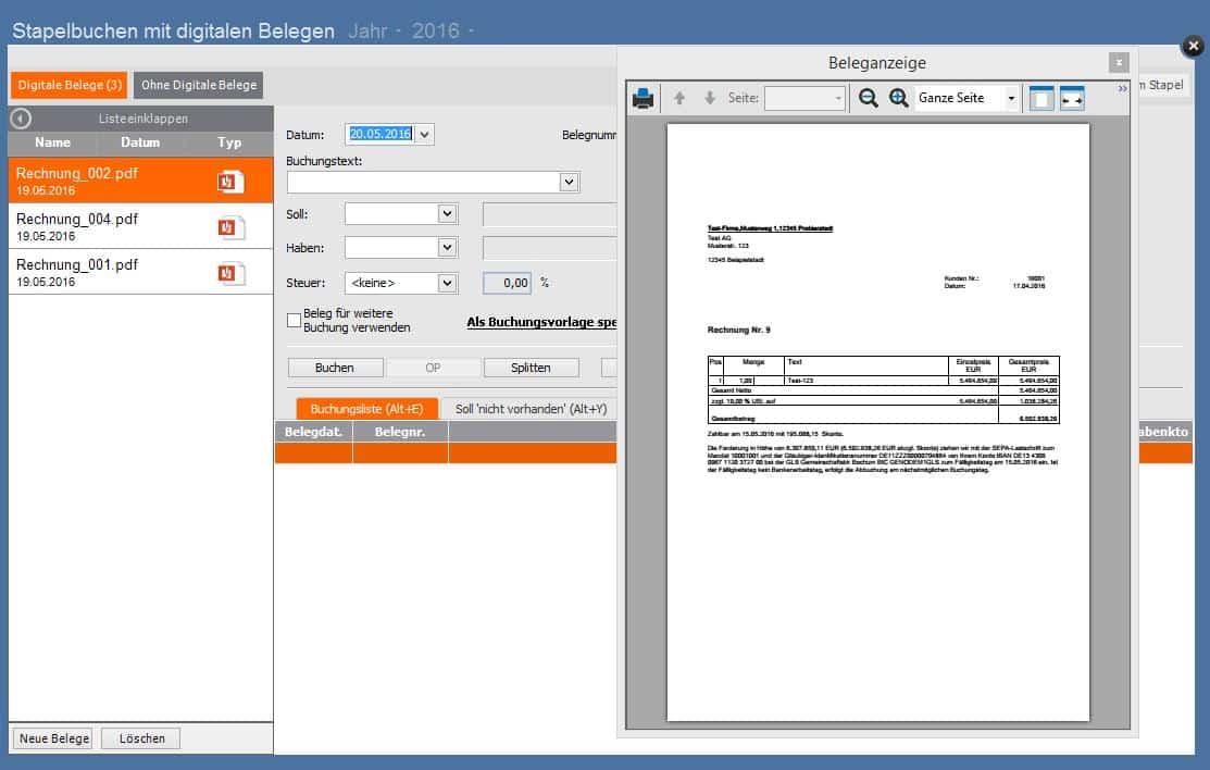 Lexware buchhalter - digitale Belege in Buchungsmaske