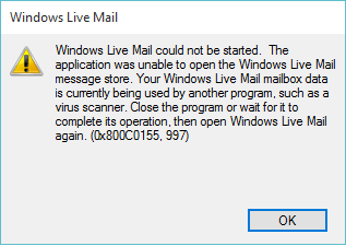 Fehler 0x800C0155, 997 Windows Live Mail