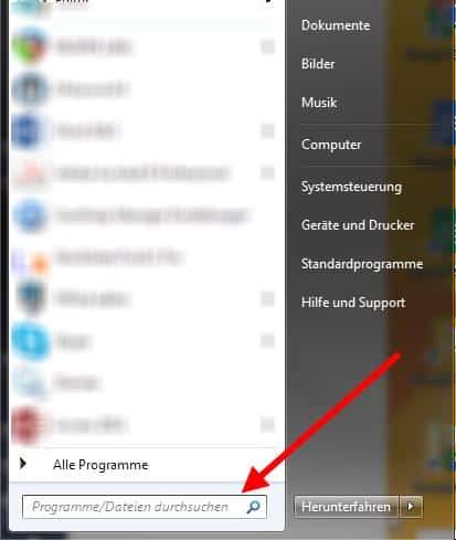 Windows 7 Dateien suchen Startmenü