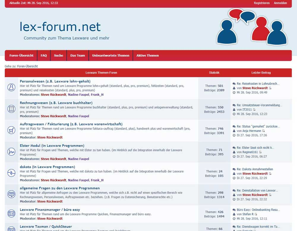 neue lex-forum.net Community Startseite