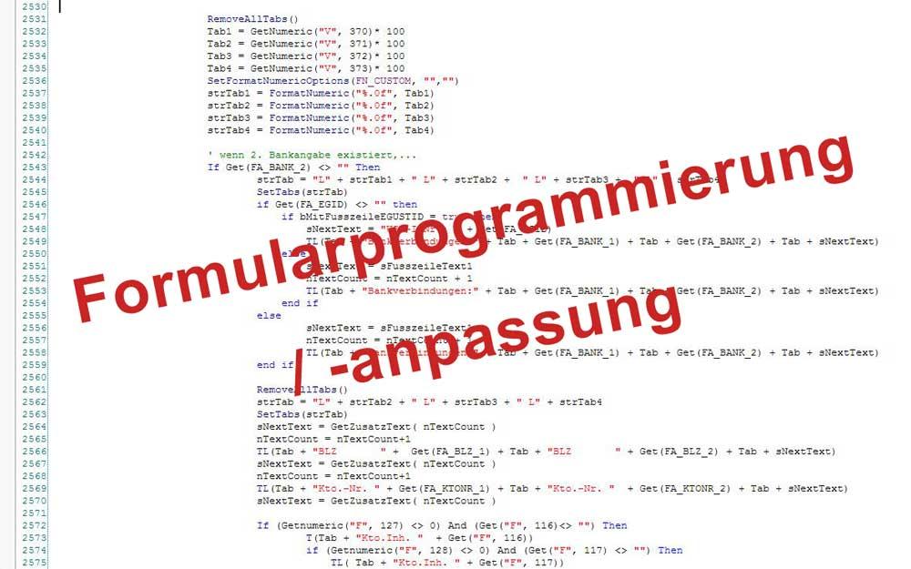 Formularprogrammierung /-anpassung