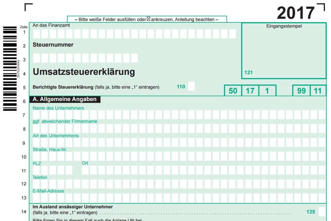 Muster Umsatzsteuererklärung 2017