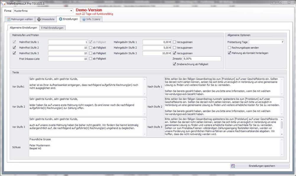 Allgemeine Einstellungen MahnExpressLX Pro