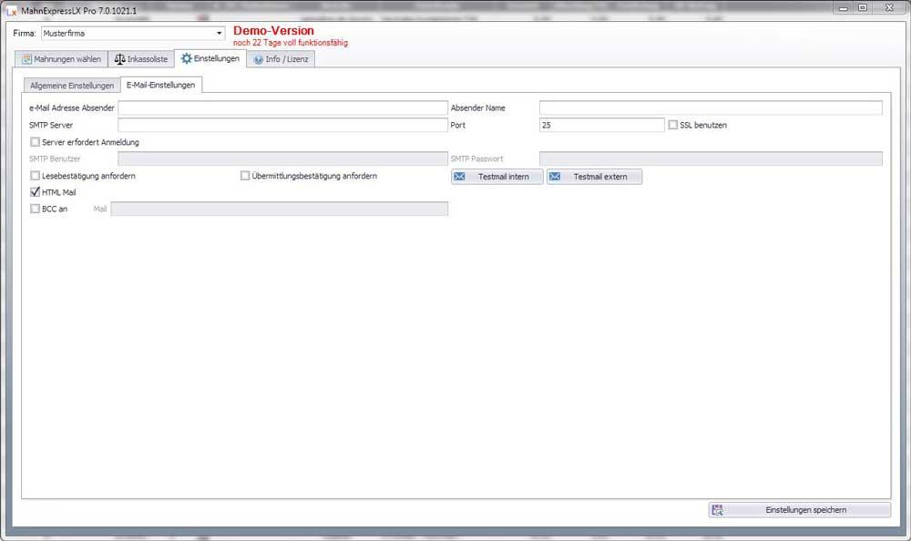 E-Mail Einstellungen MahnExpressLX Pro