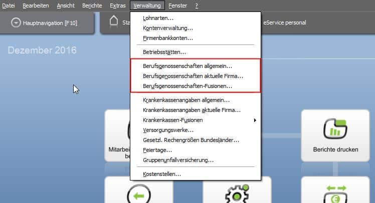 Menü BG-Verwaltung