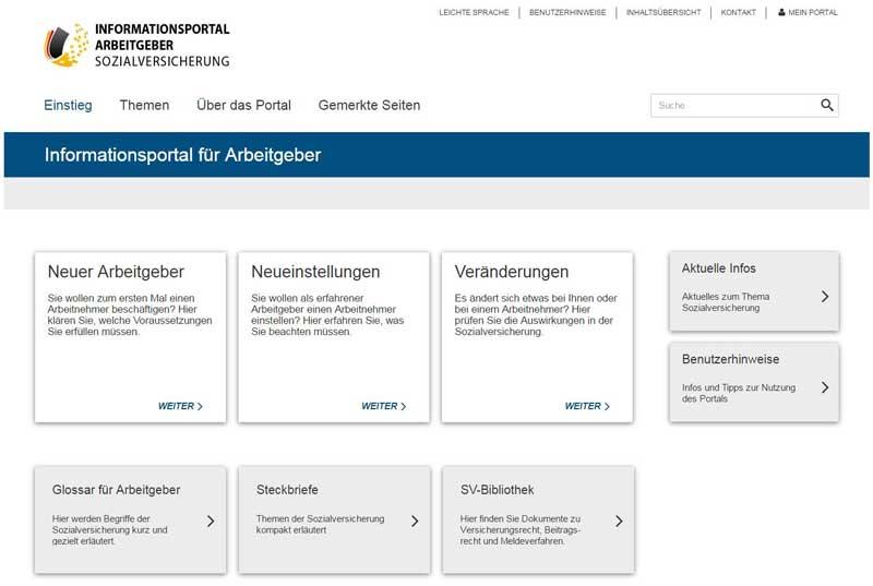 Informationsportal für Arbeitgeber