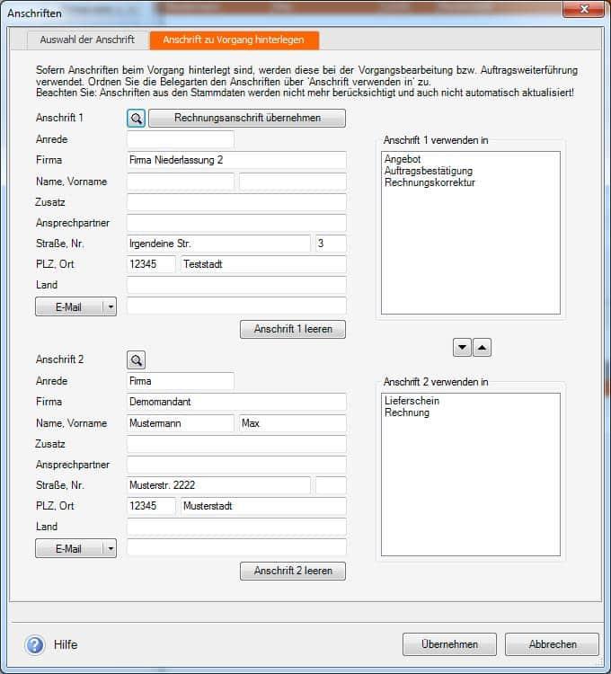 neue Anschriftenverwaltung ab Versionsstand 17.01