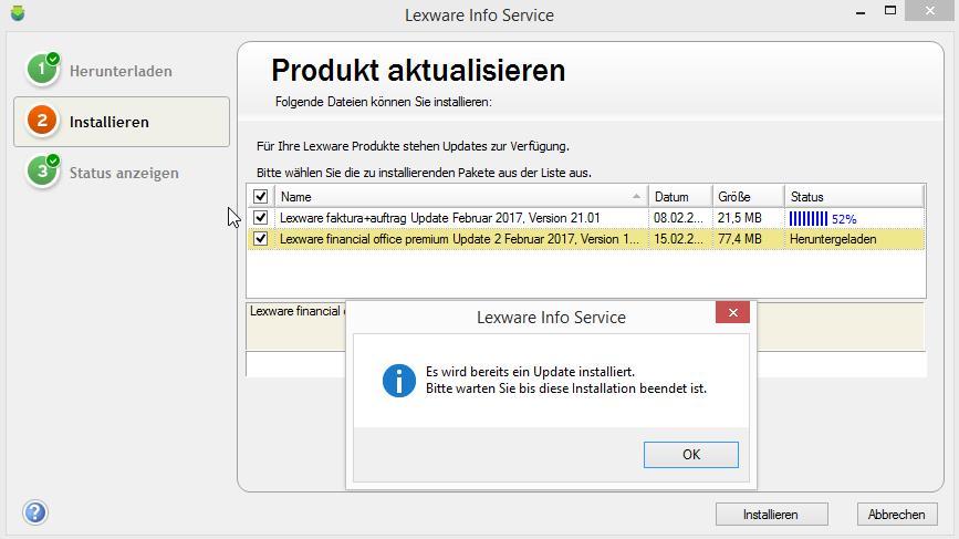 LISA - Es wird bereits ein Update installiert