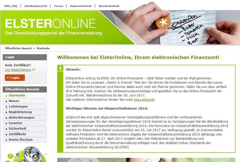 Elster Online - alt