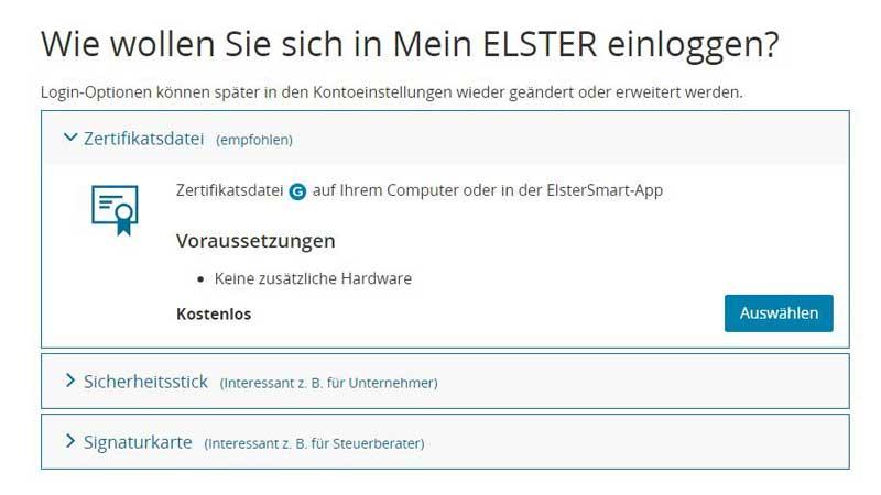 Elster Online - Zertifikatsauswahl
