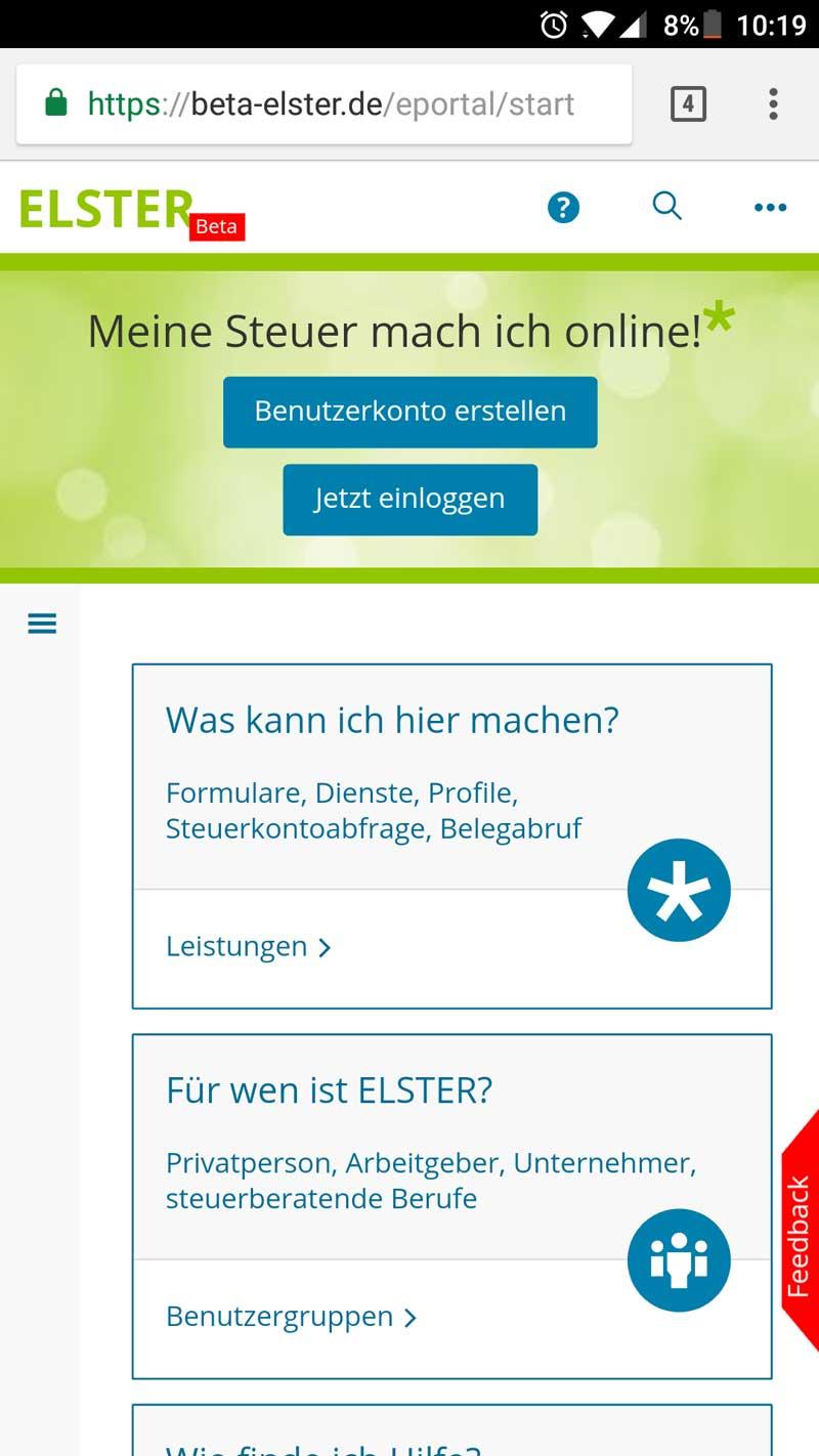 Elster Online (neu) auf dem Smartphone