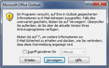 Warnmeldung Outlook Mailzugriff