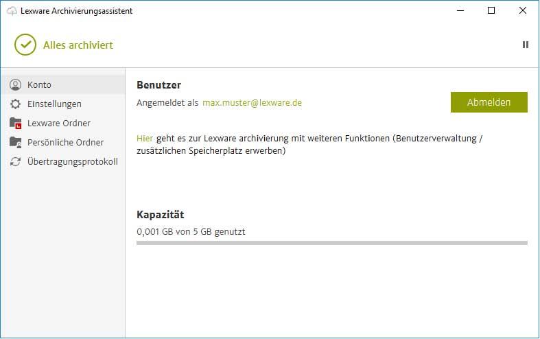 Lexware Archivierungsassistent