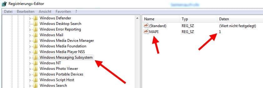 Registrywert MAPI prüfen