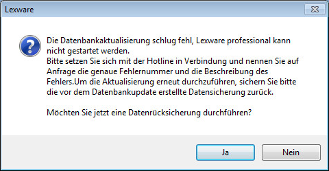 DB Aktualisierung fehlgeschlagen - Rücksicherung durchführen