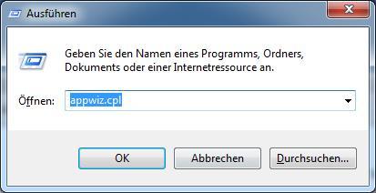 Ausführen-Fenster + appwiz.cpl Befehl