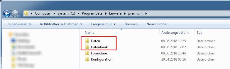 Lexware Pfad Daten und Datenbank