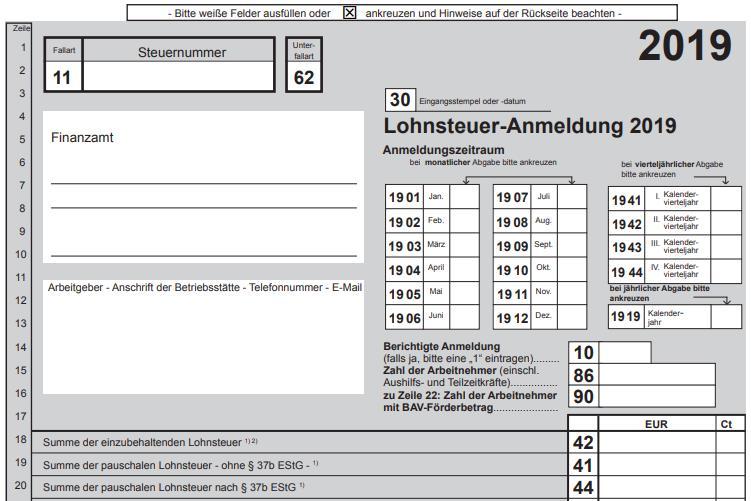 Lohnsteuer-Anmeldung 2019