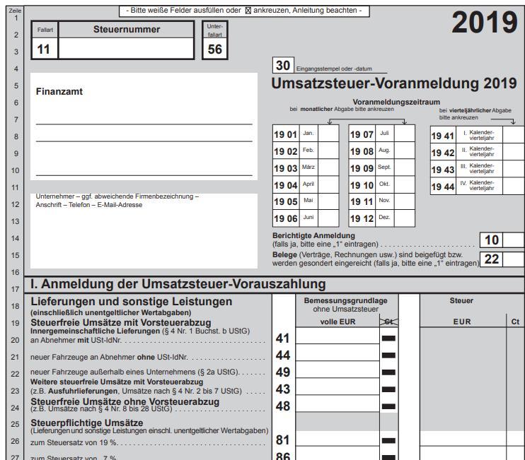 Umsatzsteuer-Voranmeldung 2019