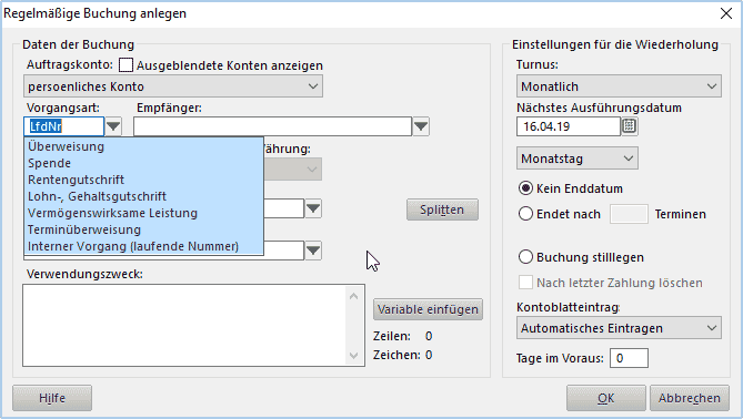 Lexware FinanzManager 2020 SEPA Purpose Codes