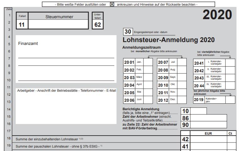Muster Lohnsteuer-Anmeldung 2020