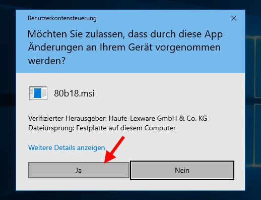 Abfrage Benutzerkontensteuerung Windows 10