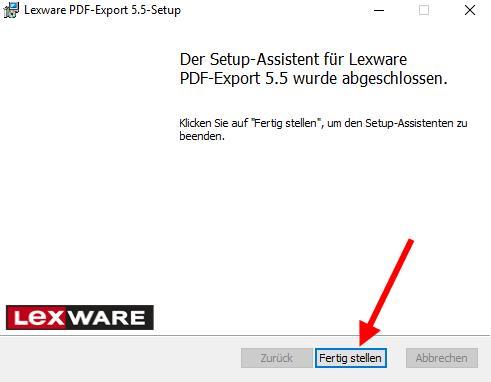Lexware PDF Treiber Installationsassistent Fertigstellen