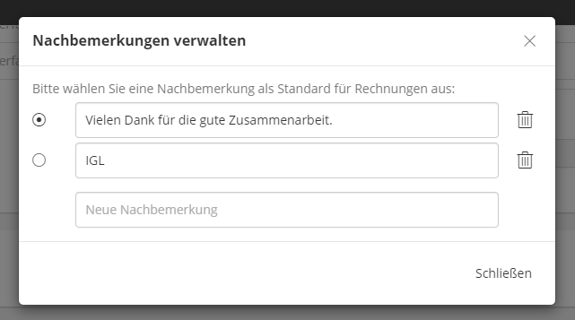 Verwaltung Nachbemerkungen - lexoffice