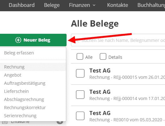 neuer Beleg - lexoffice